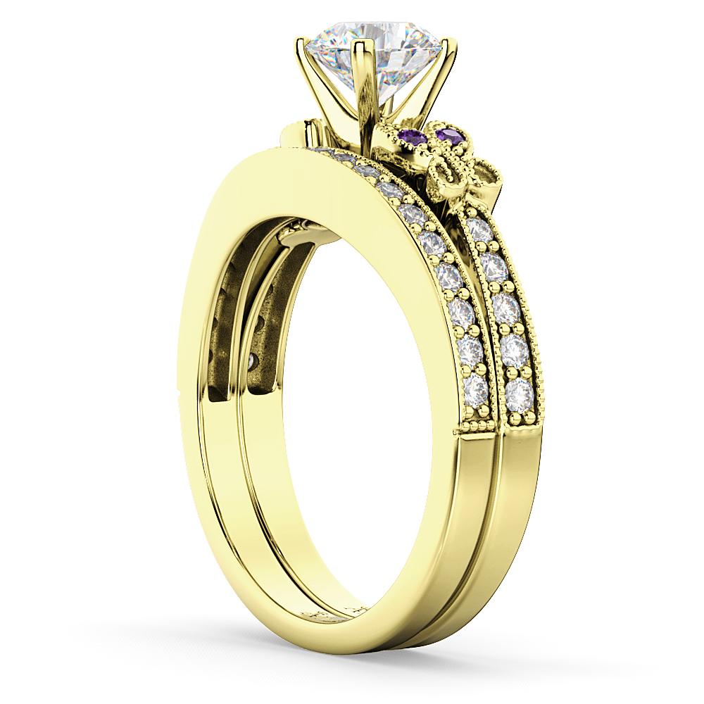 Butterfly Diamond & Amethyst Bridal Set 18k Yellow Gold (0.42ct)