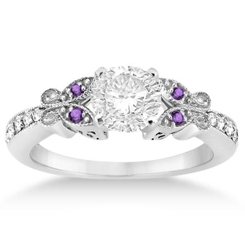 Butterfly Diamond & Amethyst Bridal Set Palladium (0.42ct)