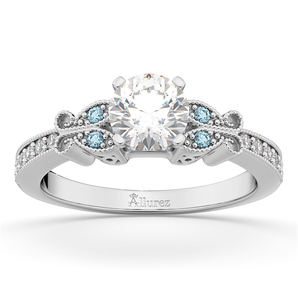 Butterfly Diamond & Aquamarine Engagement Ring 14k White Gold (0.20ct)