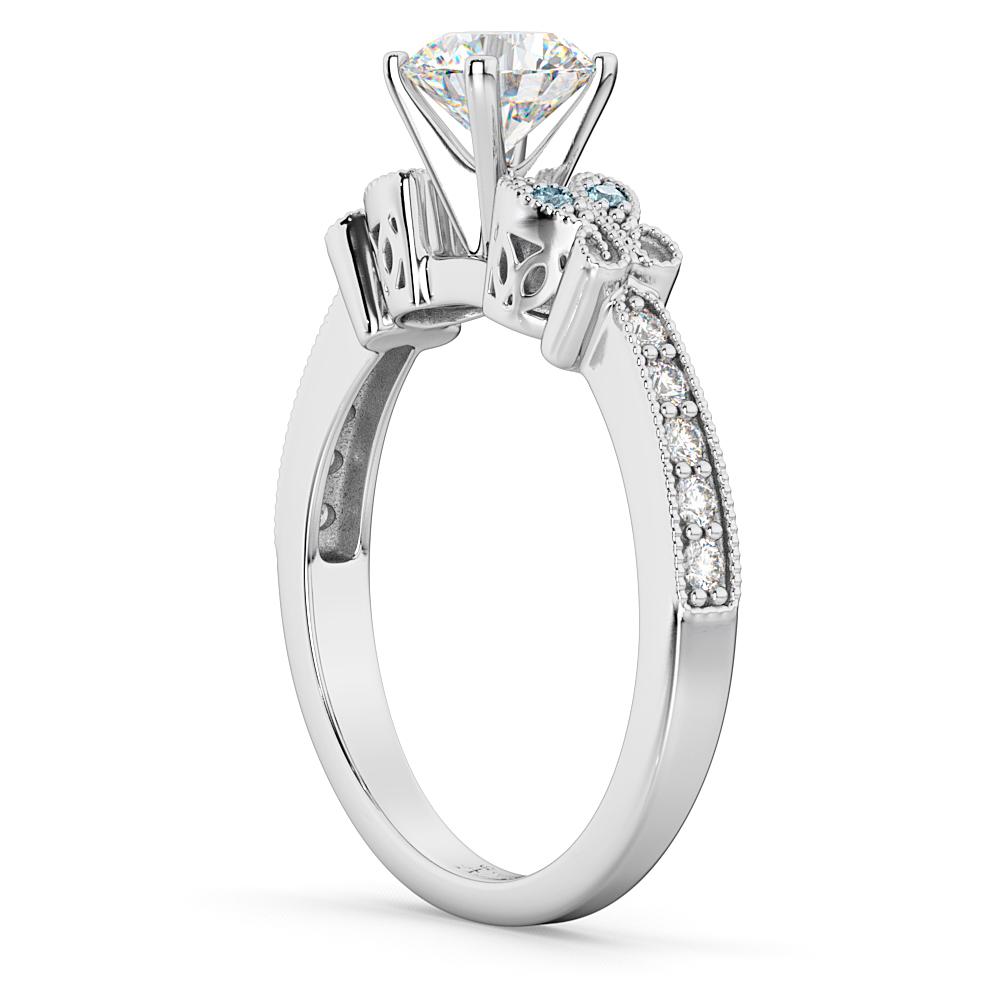 Butterfly Diamond & Aquamarine Engagement Ring 18k White Gold (0.20ct)