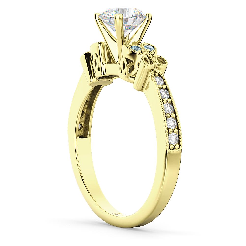 Butterfly Diamond & Aquamarine Engagement Ring 18k Yellow Gold (0.20ct)