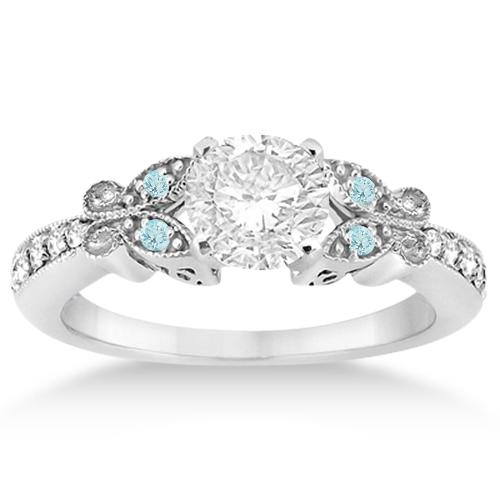 Butterfly Diamond & Aquamarine Engagement Ring Palladium (0.20ct)