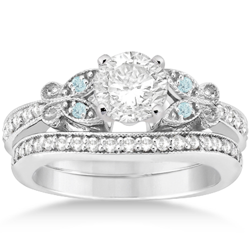 Butterfly Diamond & Aquamarine Bridal Set 14k White Gold (0.42ct)