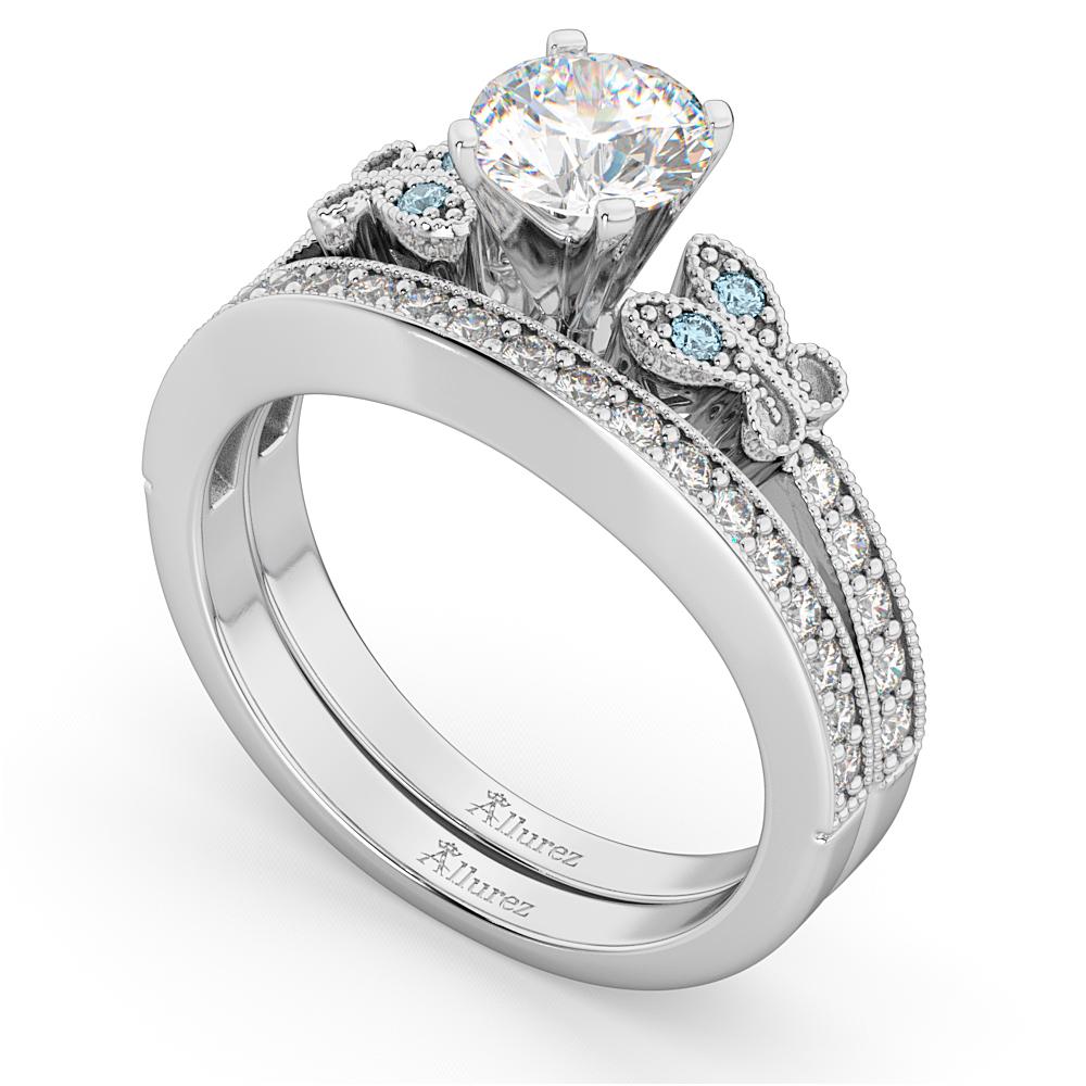 Butterfly Diamond & Aquamarine Bridal Set 14k White Gold (0.42ct)