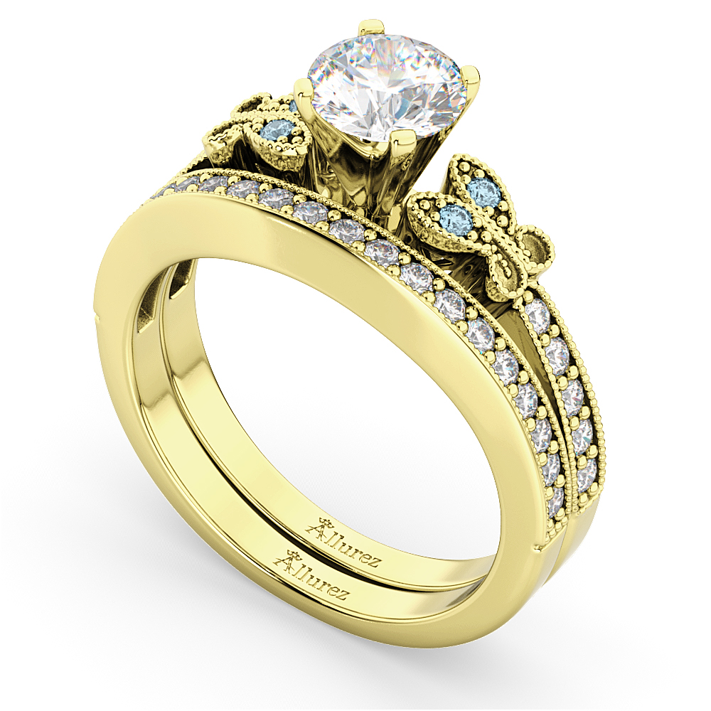 Butterfly Diamond & Aquamarine Bridal Set 18k Yellow Gold (0.42ct)