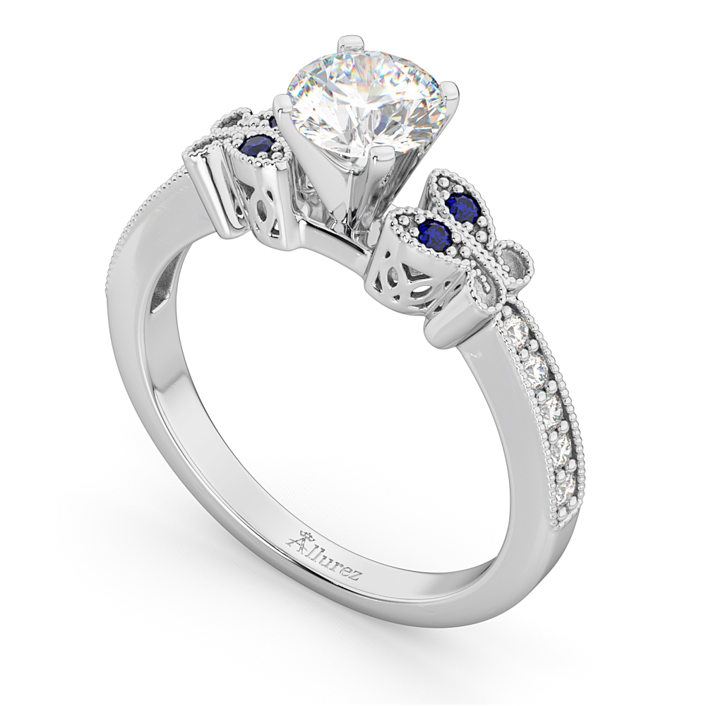 butterfly diamond sapphire engagement ring 14k white gold - Butterfly Wedding Rings