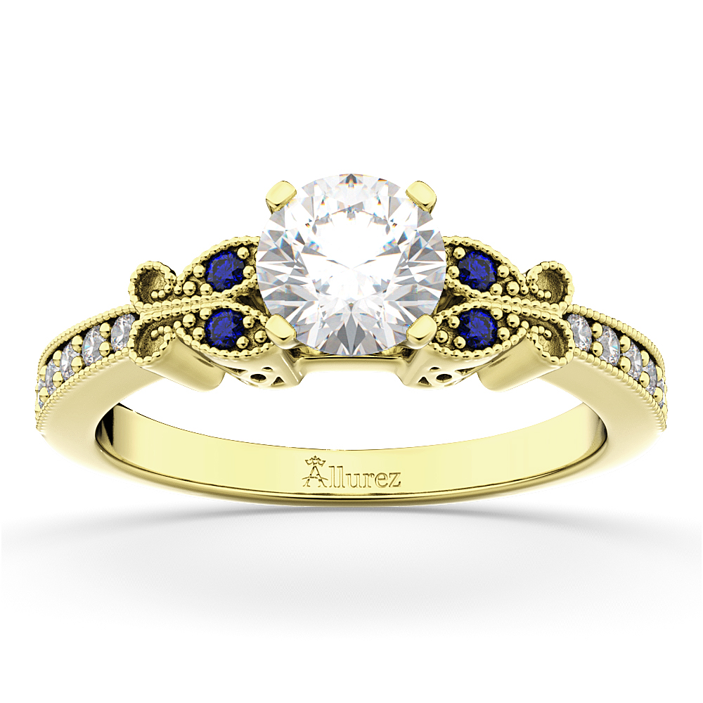 Butterfly Diamond & Sapphire Engagement Ring 14k Yellow Gold (0.20ct)