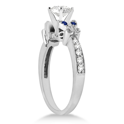 Butterfly Diamond & Sapphire Engagement Ring Platinum (0.20ct)