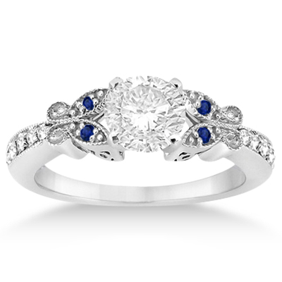 Butterfly Diamond & Blue Sapphire Bridal Set Palladium (0.42ct)