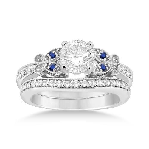 Butterfly Diamond & Blue Sapphire Bridal Set Platinum (0.42ct)