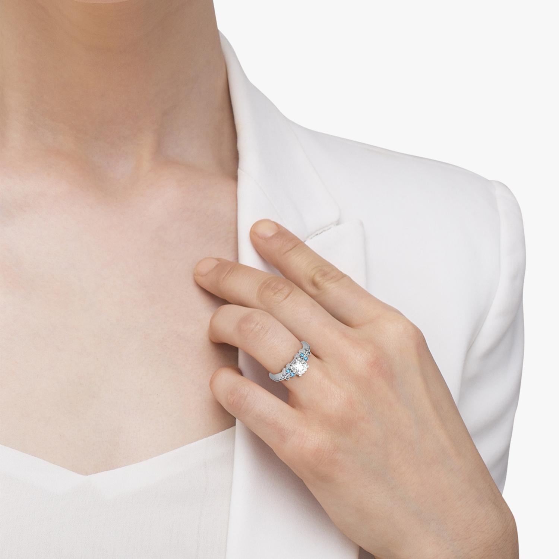 Butterfly Diamond & Blue Topaz Engagement Ring 14k White Gold (0.20ct)
