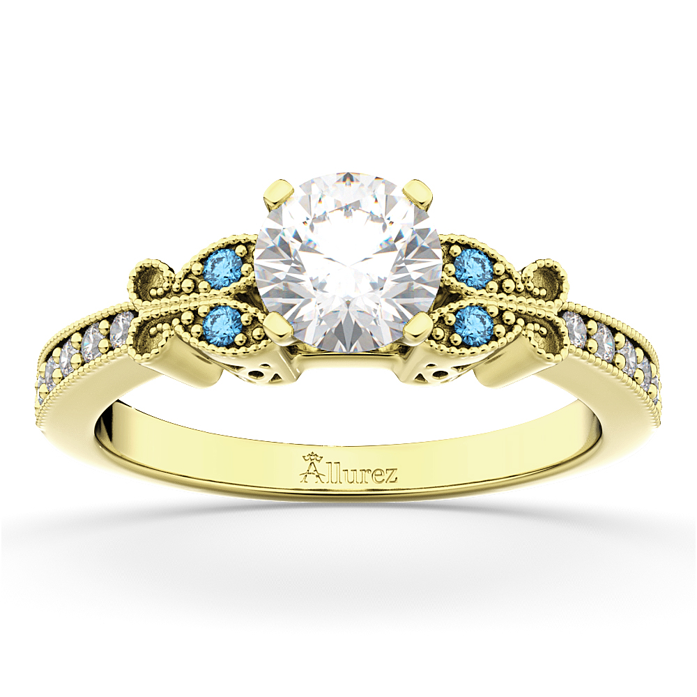 Butterfly Diamond &  Blue Topaz Engagement Ring 14k Yellow Gold (0.20ct)