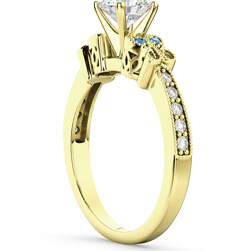 Butterfly Diamond & Blue Topaz Engagement Ring 18k Yellow Gold (0.20ct)