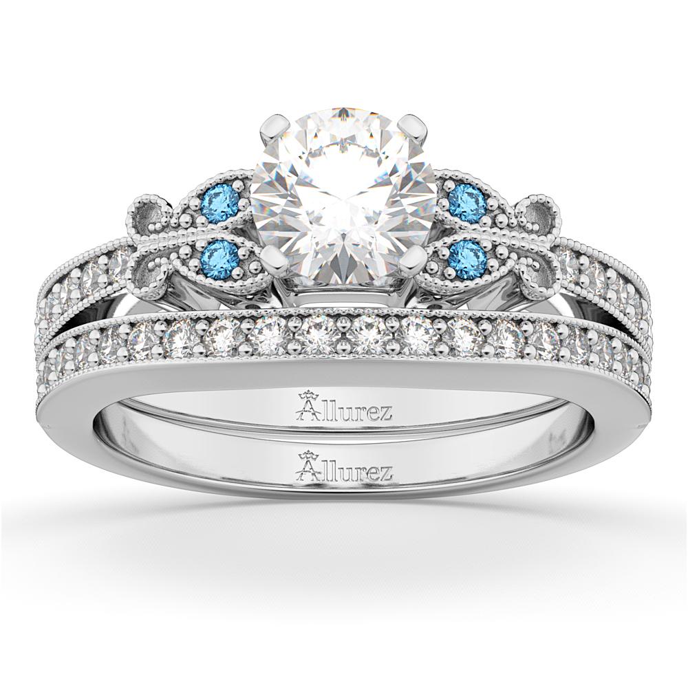 butterfly diamond blue topaz bridal set 14k white gold - Topaz Wedding Ring