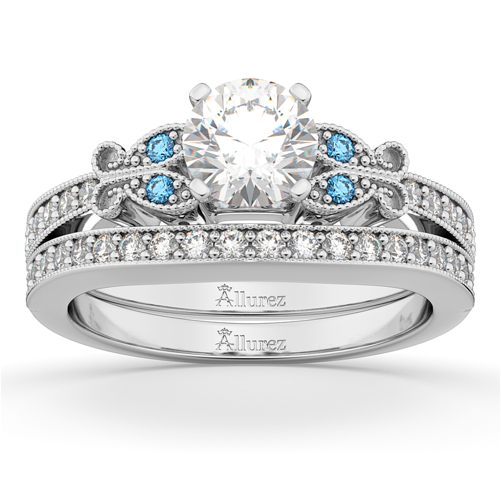 butterfly diamond blue topaz bridal set 18k white gold - Butterfly Wedding Ring