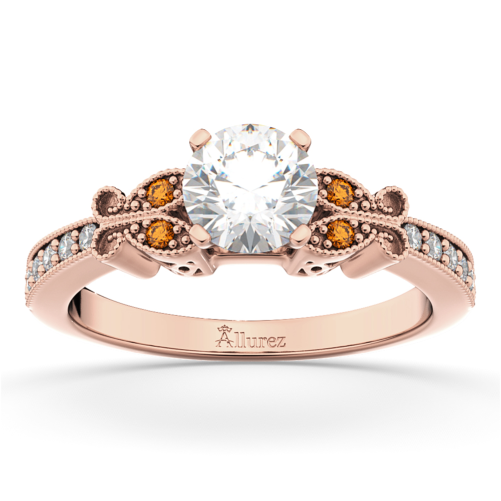 Ct White And Rose Gold Diamond Butterfly Ring