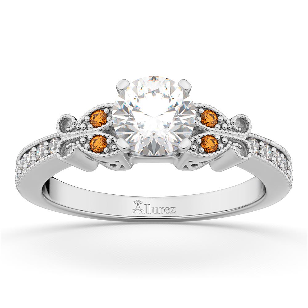 Butterfly Diamond & Citrine Engagement Ring 14k White Gold (0.20ct)