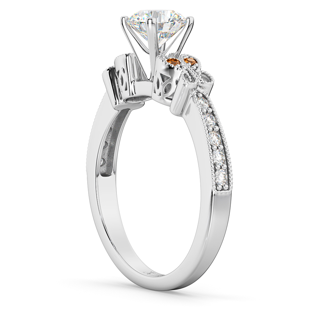 Butterfly Diamond & Citrine Engagement Ring 18k White Gold (0.20ct)