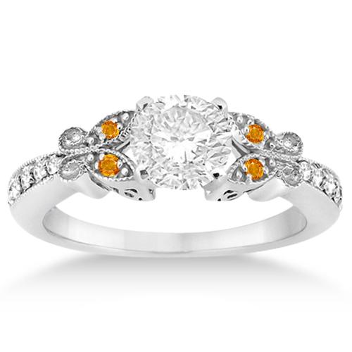 Butterfly Diamond & Citrine Engagement Ring Palladium (0.20ct)