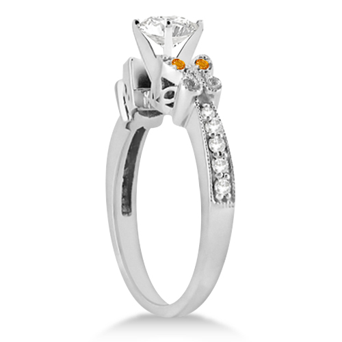 Butterfly Diamond & Citrine Engagement Ring Platinum (0.20ct)