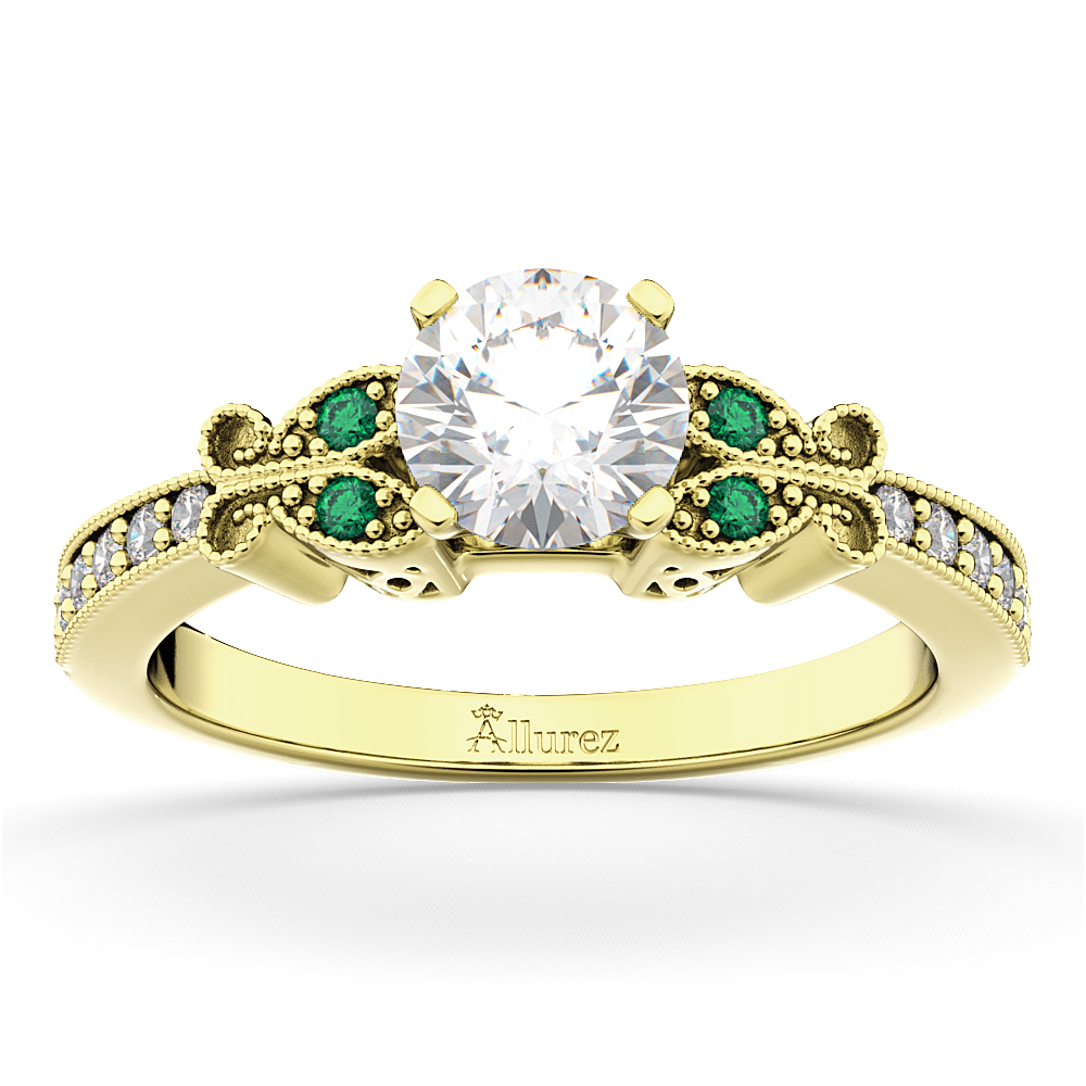 Butterfly Diamond & Emerald Engagement Ring 14k Yellow Gold (0.20ct)