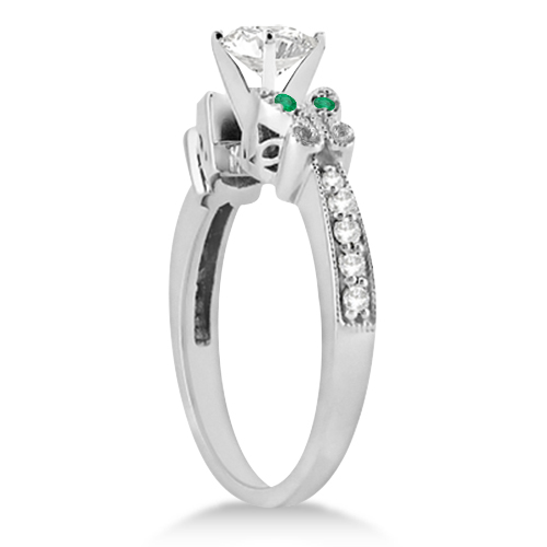 Butterfly Diamond & Emerald Engagement Ring Platinum (0.20ct)