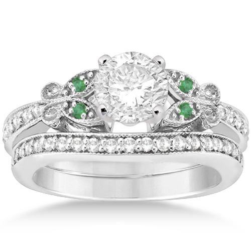 Butterfly Diamond & Emerald Bridal Set 18k White Gold (0.42ct)