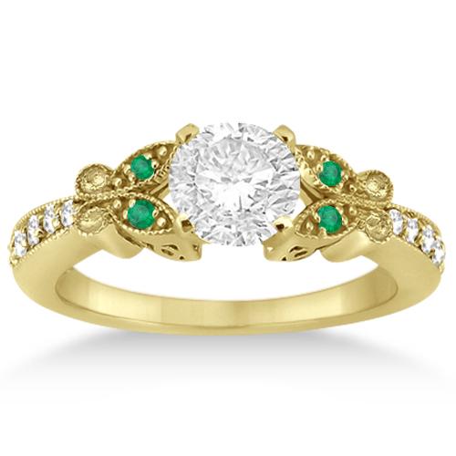 Butterfly Diamond & Emerald Bridal Set 18k Yellow Gold (0.42ct)