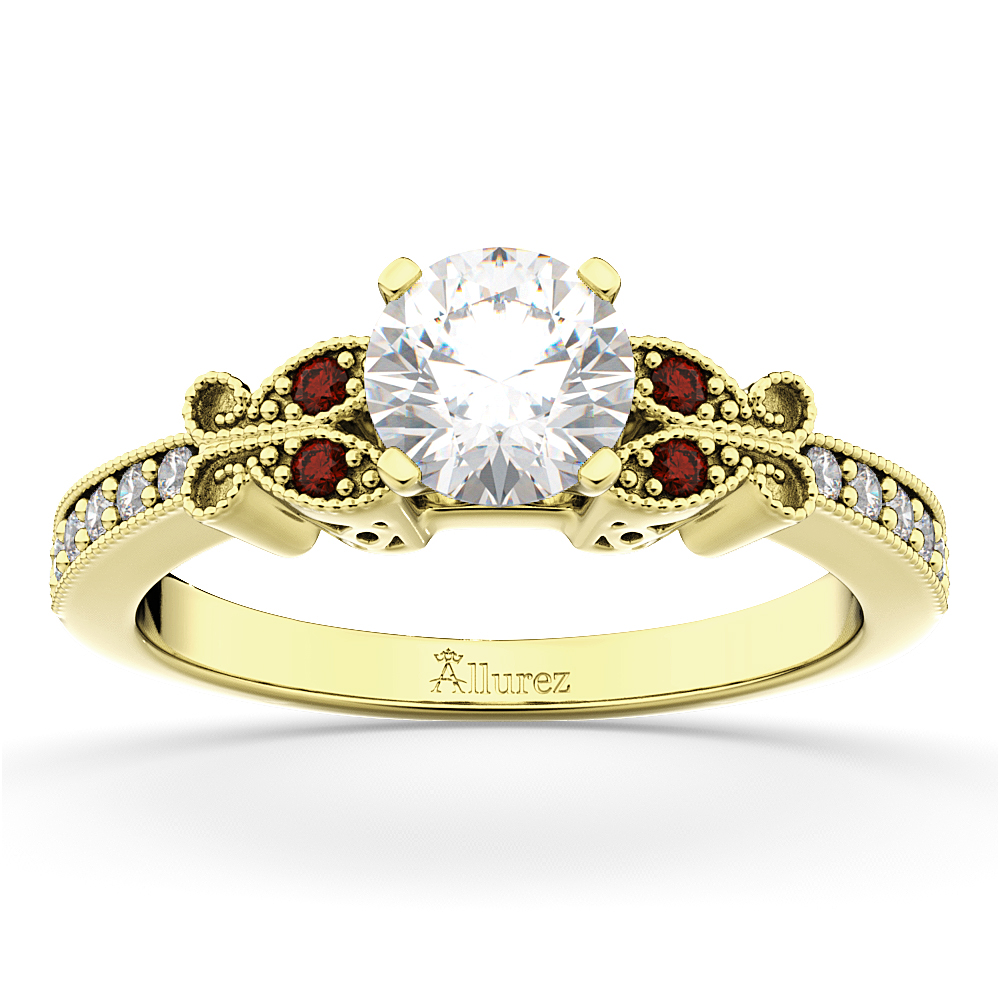 Butterfly Diamond & Garnet Engagement Ring 18k Yellow Gold (0.20ct)