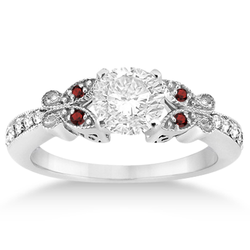 butterfly diamond garnet engagement ring platinum