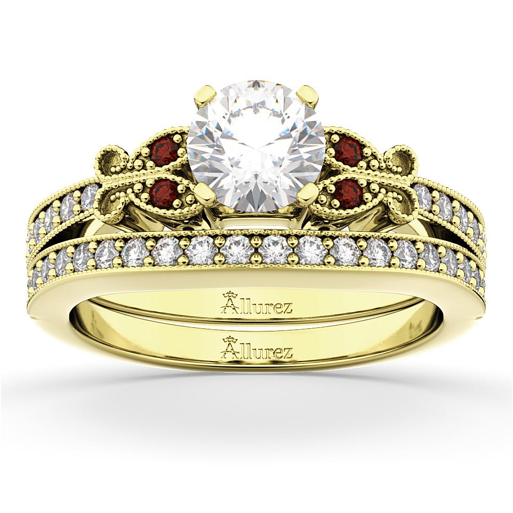 Butterfly Diamond & Garnet Bridal Set 14k Yellow Gold (0.42ct)