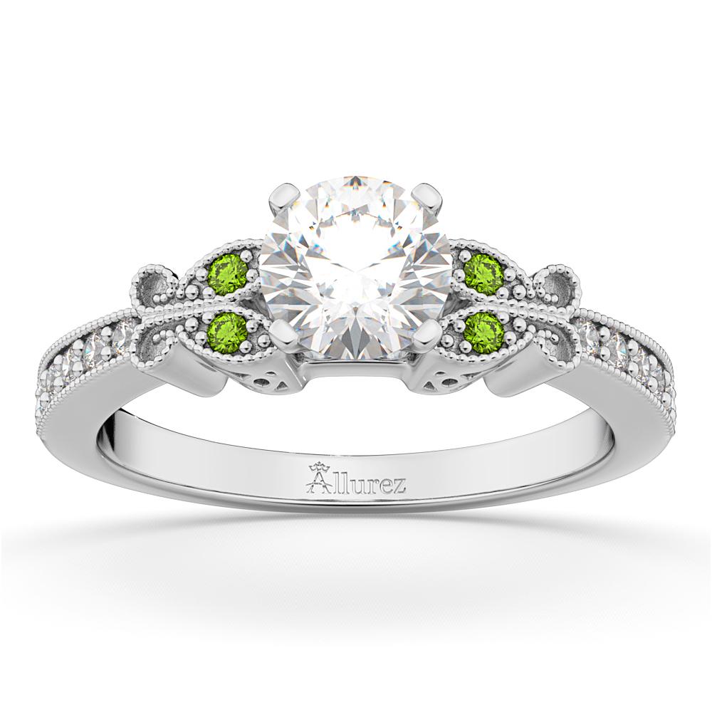 Butterfly Diamond & Peridot Engagement Ring 14k White Gold
