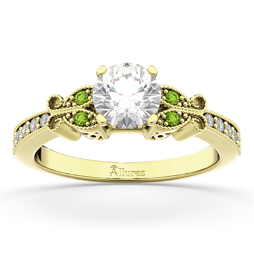 Butterfly Diamond & Peridot Engagement Ring 18k Yellow Gold (0.20ct)