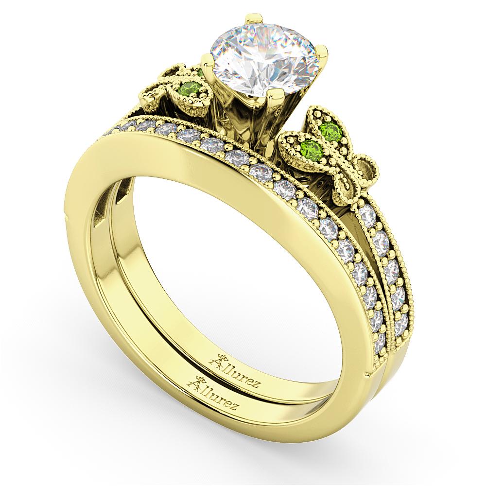 Butterfly Diamond & Peridot Bridal Set 14k Yellow Gold (0.42ct)
