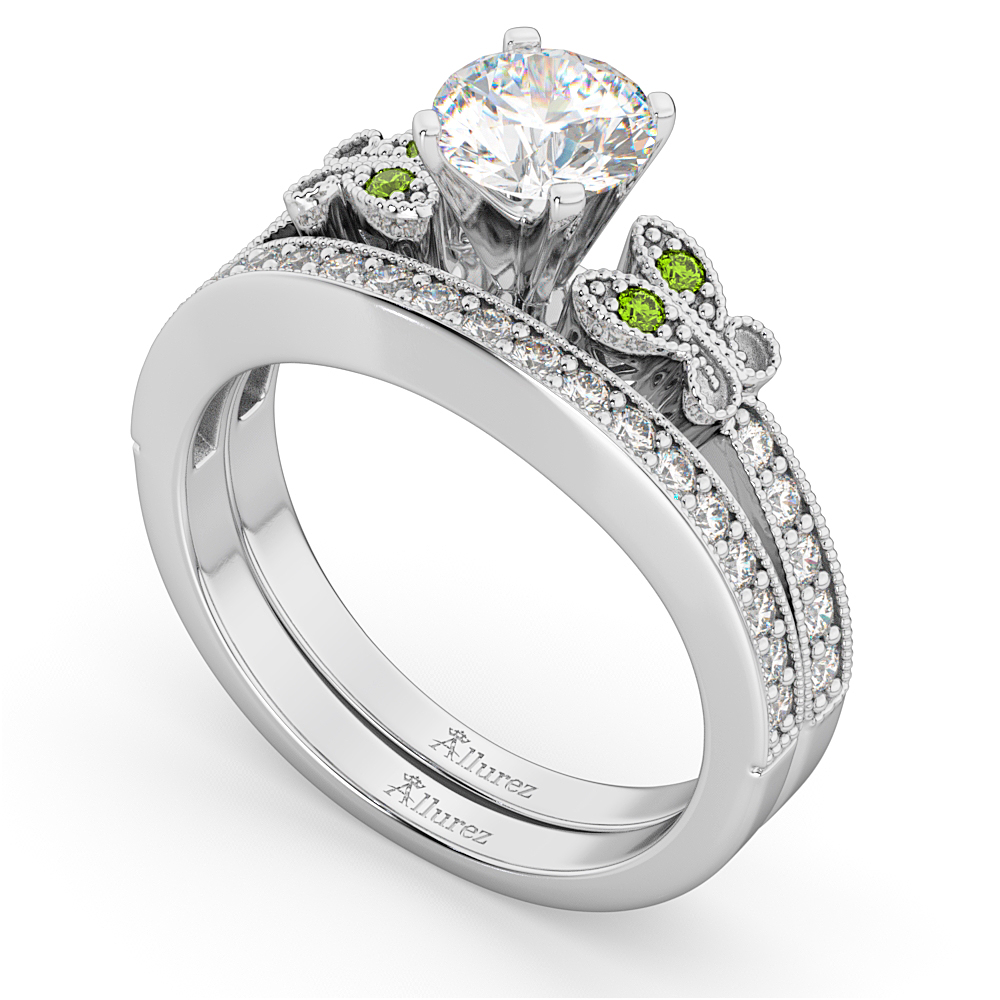 Butterfly Diamond & Peridot Bridal Set 18k White Gold (0.42ct)