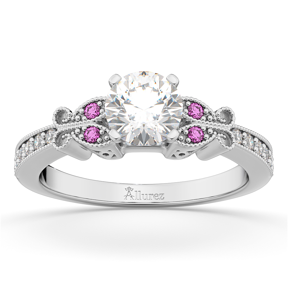 Butterfly Diamond & Pink Sapphire Engagement Ring 14k White Gold (0.20ct)