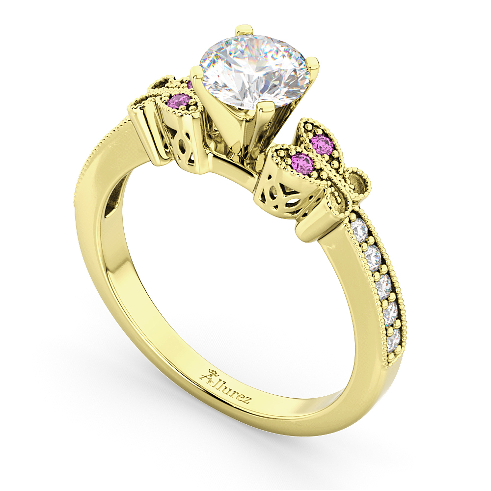 Butterfly Diamond & Pink Sapphire Engagement Ring 18k Yellow Gold (0.20ct)
