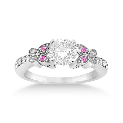 Butterfly Diamond & Pink Sapphire Engagement Ring Platinum (0.20ct)