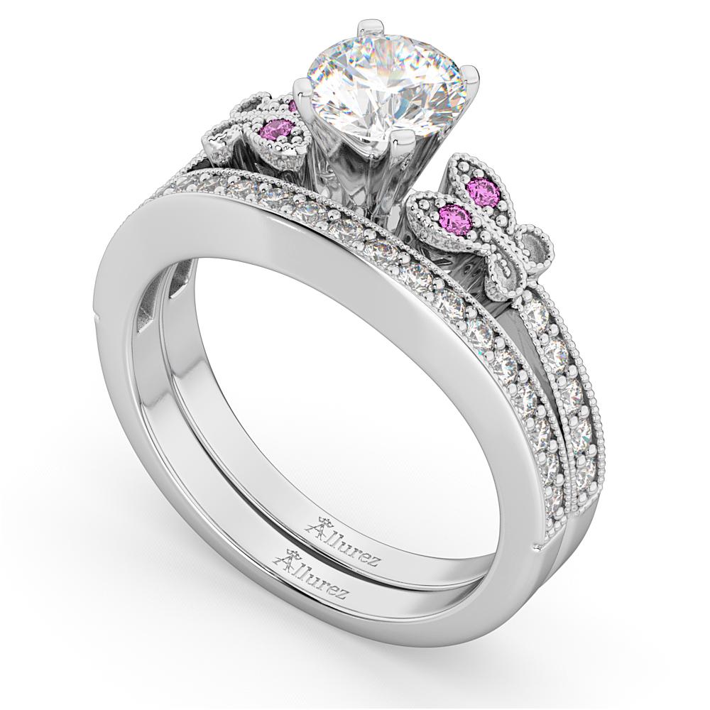 Butterfly Diamond & Pink Sapphire Bridal Set 14k White Gold (0.42ct)