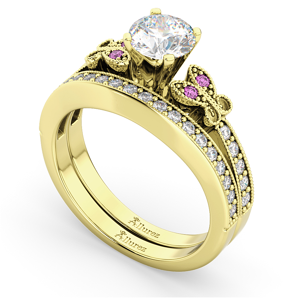 Butterfly Diamond & Pink Sapphire Bridal Set 18k Yellow Gold (0.42ct)