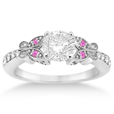 Butterfly Diamond & Pink Sapphire Bridal Set Palladium (0.42ct)