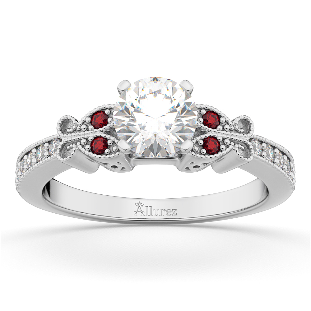 Butterfly Diamond & Ruby Engagement Ring 14k White Gold (0.20ct)