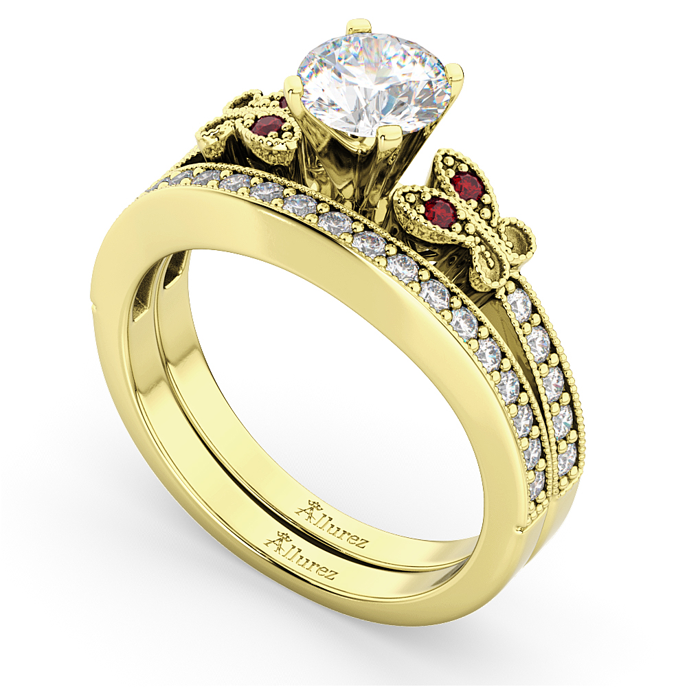 Butterfly Diamond & Ruby Bridal Set 14k Yellow Gold (0.42ct)