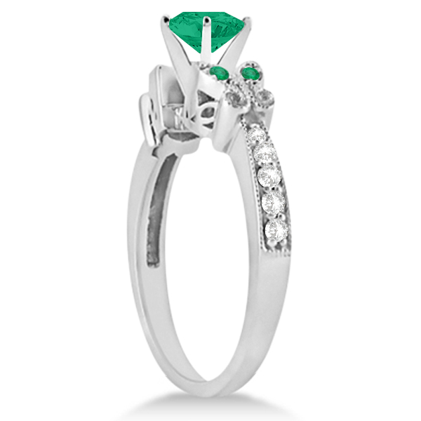Butterfly Genuine Emerald & Diamond Heart Engagement 14K W Gold 1.31ct