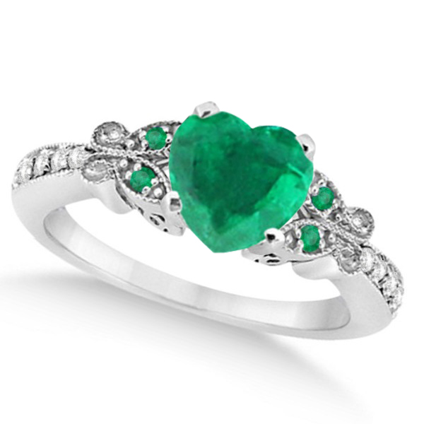Butterfly Genuine Emerald & Diamond Heart Engagement 14K W Gold 1.71ct