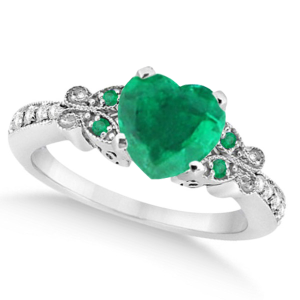 Butterfly Genuine Emerald & Diamond Heart Engagement 14K W Gold 2.46ct