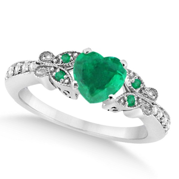 Butterfly Genuine Emerald & Diamond Heart Bridal Set 14k Gold 1.53ct