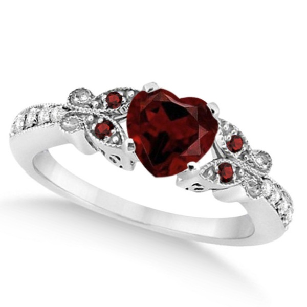 Butterfly Genuine Garnet & Diamond Heart Engagement 14K W Gold 1.33ct