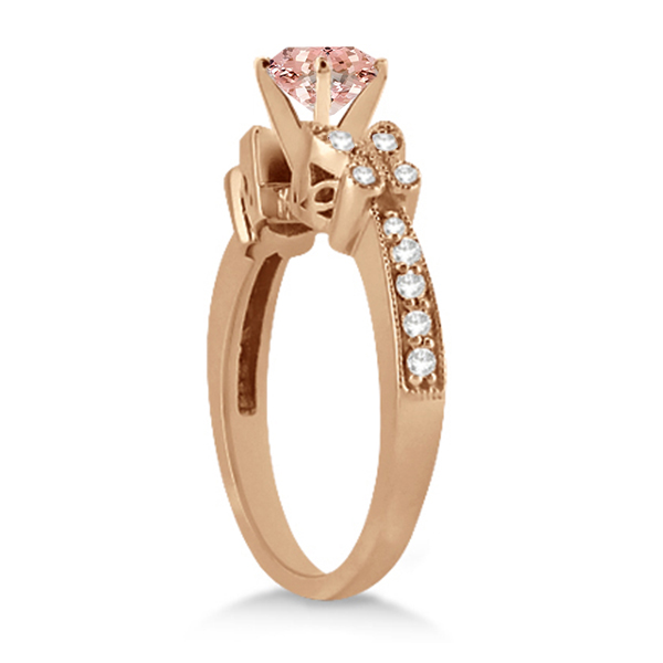 Butterfly Morganite & Diamond Engagement Ring 14K R. Gold 1.28ct