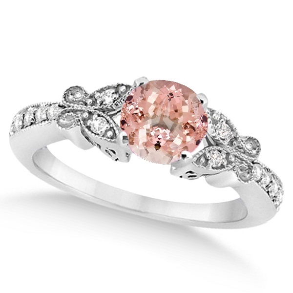 Butterfly Morganite & Diamond Engagement Ring 14K W. Gold 1.28ct